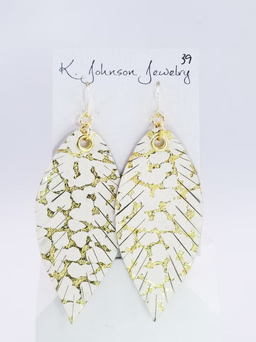 Designer Feathers - Large - Gold Embossed - K. Johnson Jewelry LLC