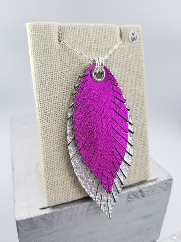 Layered Feather Necklace - Large - Fushia/Silver - Silver