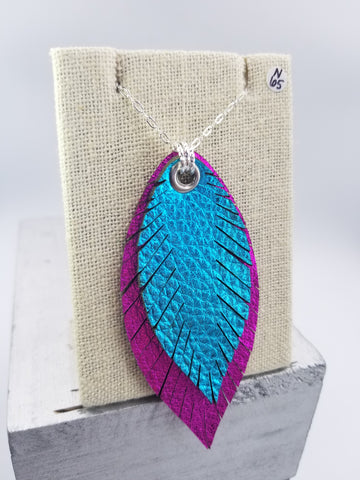 Layered Feather Necklace - Large - Fushia & Turquoise - Silver