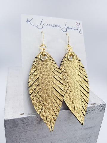 Designer Feathers - Medium - Gold - K. Johnson Jewelry LLC