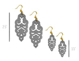 Filigree Earrings - Matte Alloy Grey - Large - K. Johnson Jewelry LLC