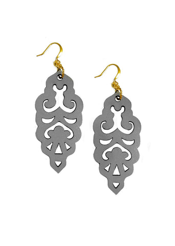 Filigree Earrings - Matte Alloy Grey - Large