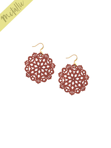 Mandala Earrings - Mini - Almandine