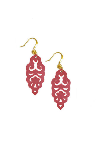 Filigree Earrings - Metallic Almandine Garnet - Mini