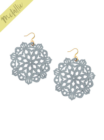 Mandala Earrings - Large - Antique Silver - K. Johnson Jewelry LLC