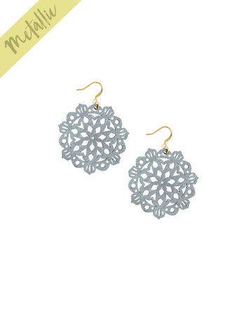 Mandala Earrings - Mini - Antique Silver