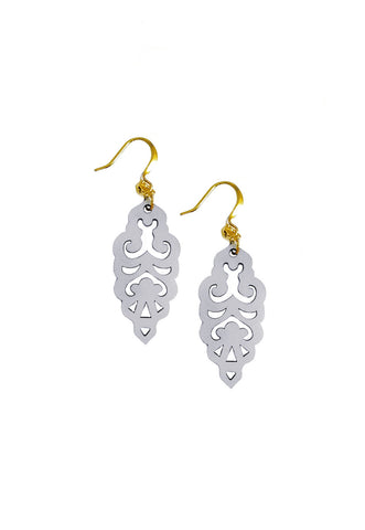 Filigree Earrings - Metallic Antique Silver - Mini