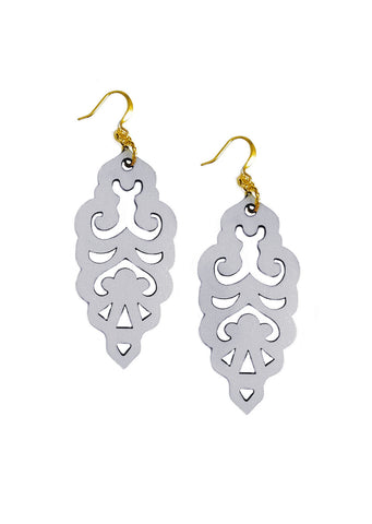 Filigree Earrings - Metallic Antique Silver - Large - K. Johnson Jewelry LLC