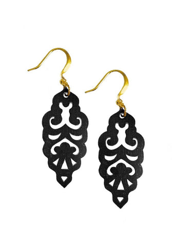 Filigree Earrings - Matte Black - Mini