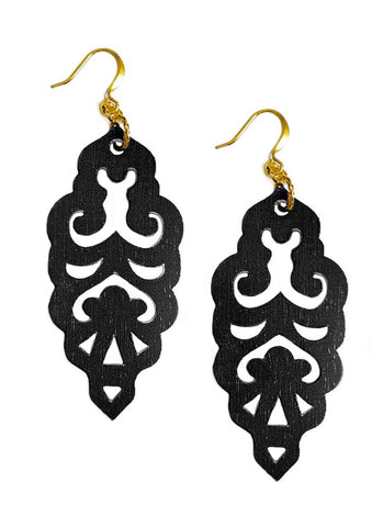 Filigree Earrings - Matte Black - Large - K. Johnson Jewelry LLC
