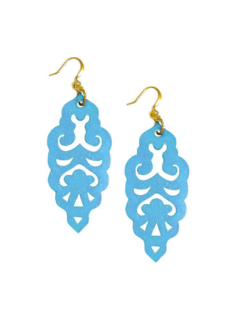 Filigree Earrings - Metallic Blue Ice - Large