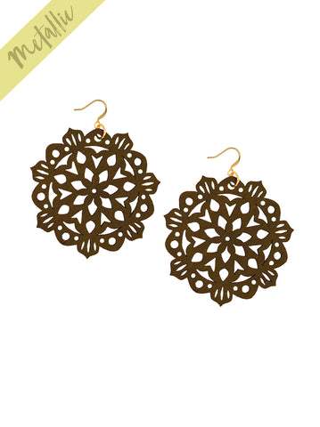 Mandala Earrings - Large - Chocolate