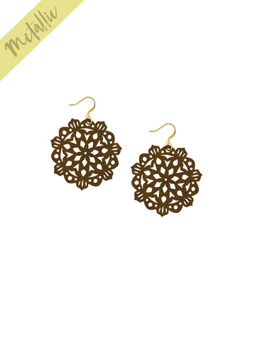 Mandala Earrings - Mini - Chocolate