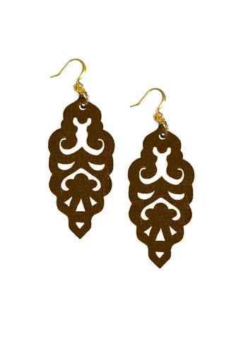 Filigree Earrings - Metallic Chocolate - Large