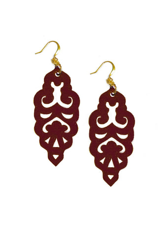 Filigree Earrings - Matte Dusty Cedar - Large