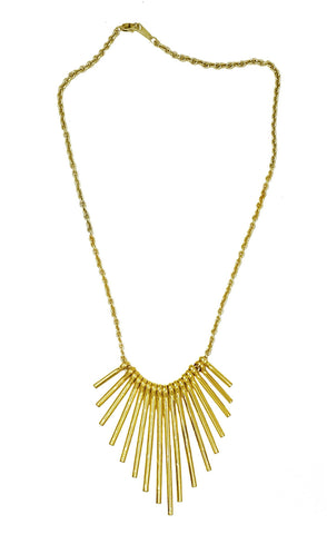 Metal Fan Necklace - Gold - K. Johnson Jewelry LLC