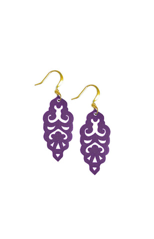 Filigree Earrings - Matte Grape - Mini