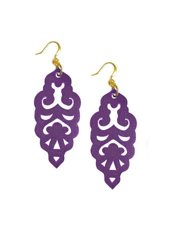 Filigree Earrings - Matte Grape - Large - K. Johnson Jewelry LLC