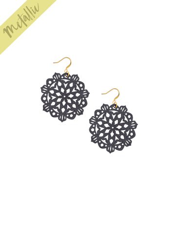 Mandala Earrings - Mini - Graphite