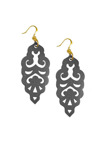Filigree Earrings - Metallic Graphite - Large - K. Johnson Jewelry LLC