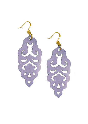 Filigree Earrings - Metallic Grey Lilac - Large - K. Johnson Jewelry LLC