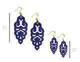 Filigree Earrings - Hawk Navy - Large
