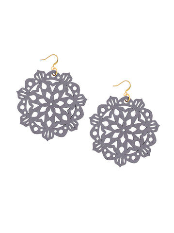 Mandala Earrings - Large - Alloy Grey