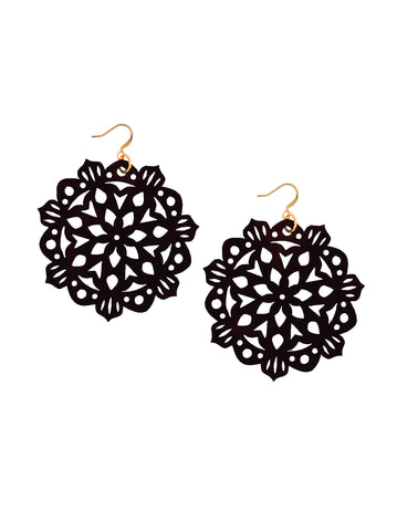 Mandala Earrings - Large - Black