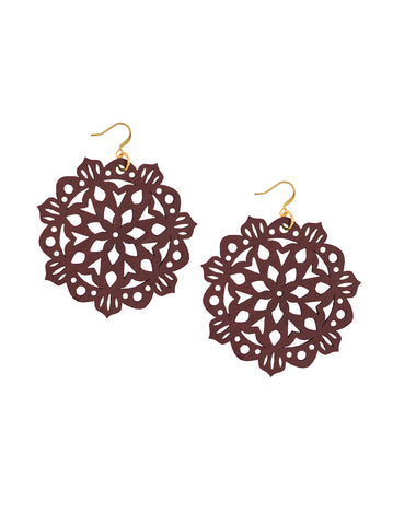 Mandala Earrings - Large - Dusty Cedar