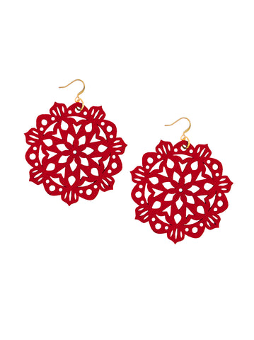 Mandala Earrings - Large - Siren Red