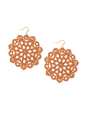 Mandala Earrings - Large - Toasted Orange