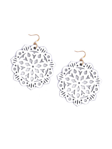Mandala Earrings - Large - Winter White