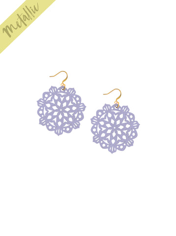 Mandala Earrings - Mini - Lilac