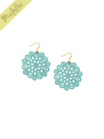 Mandala Earrings - Mini - Mardi Gras - K. Johnson Jewelry LLC