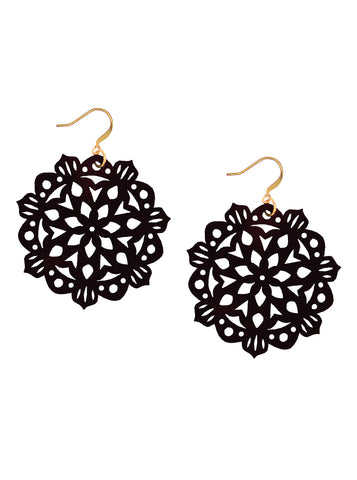 Mandala Earrings - Mini - Black
