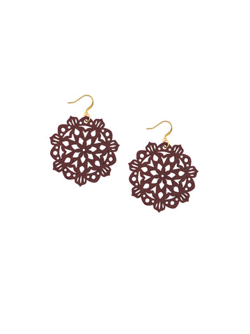 Mandala Earrings - Mini - Dusty Cedar