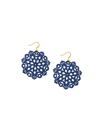 Mandala Earrings - Mini - Hawk Navy - K. Johnson Jewelry LLC