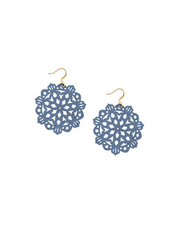 Mandala Earrings - Mini - Riverside Blue