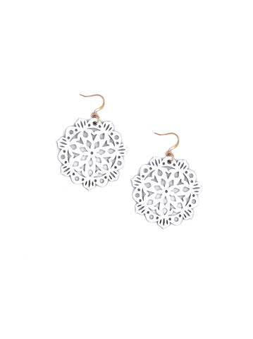 Mandala Earrings - Mini - Bright White