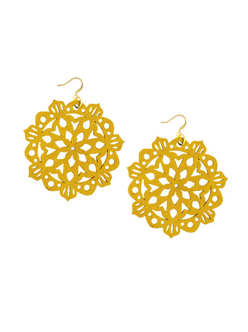 Mandala Earrings - Large - Mustard - K. Johnson Jewelry LLC