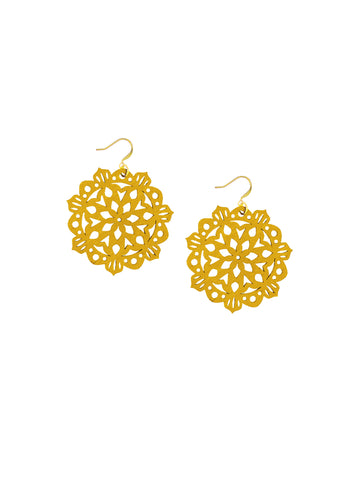 Mandala Earrings - Mini - Mustard - K. Johnson Jewelry LLC
