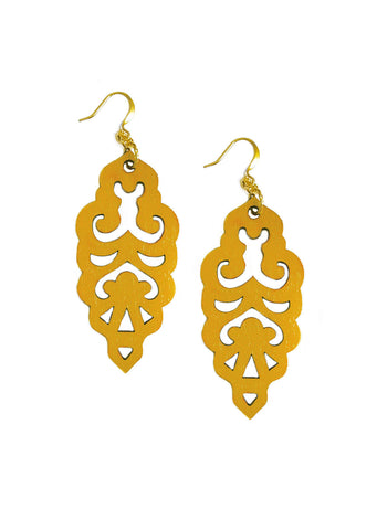Filigree Earrings - Mustard - Large - K. Johnson Jewelry LLC