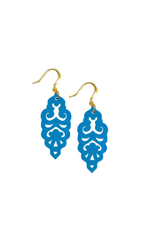 Filigree Earrings - Metallic Peacock Blue - Mini