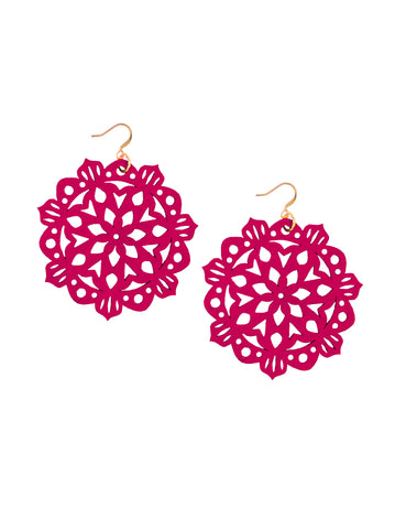 Mandala Earrings - Large - Sangria - K. Johnson Jewelry LLC