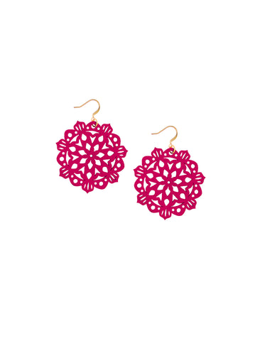 Mandala Earrings - Mini - Sangria