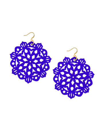 Mandala Earrings - Large - Sapphire