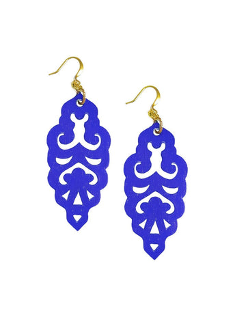 Filigree Earrings - Sapphire - Large - K. Johnson Jewelry LLC