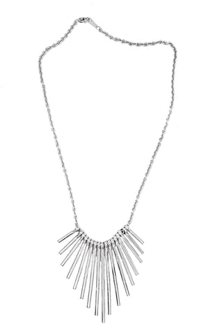 Metal Fan Necklace - Silver - K. Johnson Jewelry LLC