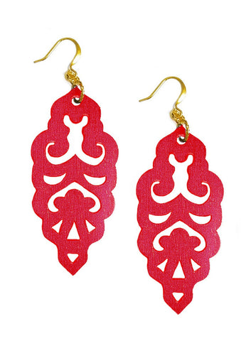 Filigree Earrings - Large - Siren Red