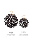 Mandala Earrings - Large - Black - K. Johnson Jewelry LLC